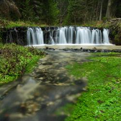 Wodospad na potoku Jeleń, Park Krajobrazowy Puszczy Solskiej, Roztocze Środkowe