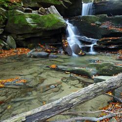 Wodospad na potoku Hulski, Park Krajobrazowy Doliny Sanu, Bieszczady Zachodnie